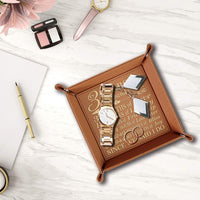 BELLA BUSTA- 3 Years as Husband and Wife-3 Years Engraved Leather Tray (Rawhide)