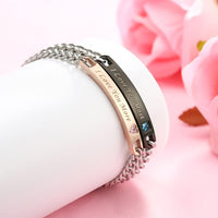 GAGAFEEL Couple Bracelet His & Her Bangle Cuff CZ Matching Set I Love You Link Anniversary Xmas Women Men Gift
