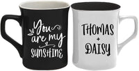 Set of 2 - Personalized Mr and Mrs Coffee Mugs w Name and Date | 11oz - 7 Color | Engraved Custom Ceramic Coffee Cup - Personalized Anniversary, Couple Gift - Taza Personalizada, Your Own Text #M2