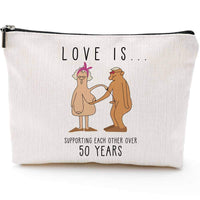 50th Anniversary Gifts for Her,Fun Makeup Bag-Love is Supporting Each Other over 50 years-Birthday Gifts for Girlfriend Wife Boy friend Husband-Makeup Bag Storage Bag Snack Bag
