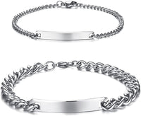 Customized Free Engraving Stainless Steel His and Hers Matching Couples Bracelets Valentine's Gift for Lover