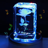LIWUYOU Personalized Custom Engraved Crystal Music Box 3D Rose Flower Colorful LED Light with A 2G Memory Card, Bluetooth Base