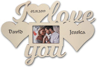"Personalized I Love You Picture Photo Frame 4"" x 6"" Gifts for Couples Him Her Boyfriend Girlfriend with Your Name & Date I Men Women"