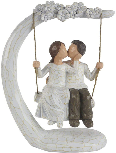"HMGYGS Couple Figurine, Hand-Painted Romantic Together Couple Sculpture Gift for Valentine's Day, Wedding Anniversary, Weddings - 9""H"