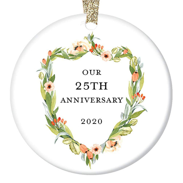 "25th Wedding Anniversary Gift Ornament 2020 Christmas 25 Twenty-Five Years Married Couple Holiday Keepsake Present Husband & Wife Marriage Anniversaries 3"" Flat Ceramic w Gold Ribbon & Free Gift Box"