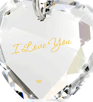 "Tiny Heart Pendant Necklace 24k Gold Inscribed with I Love You on Crystal, 18"" Chain - NanoStyle Jewelry"