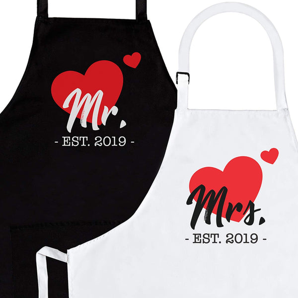 Husband & Wife | 2-Piece Kitchen Apron Set Engagement Wedding Anniversary Bridal Shower Gift for Bride | Wedding Gifts for The Newly Married Couple