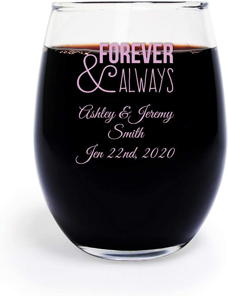 Forever and Always 9 Ounce Wine Glass, Custom Printed in Black - 48 Count, Wedding Toasting Glasses Stemless, Anniversary Engagement Gift