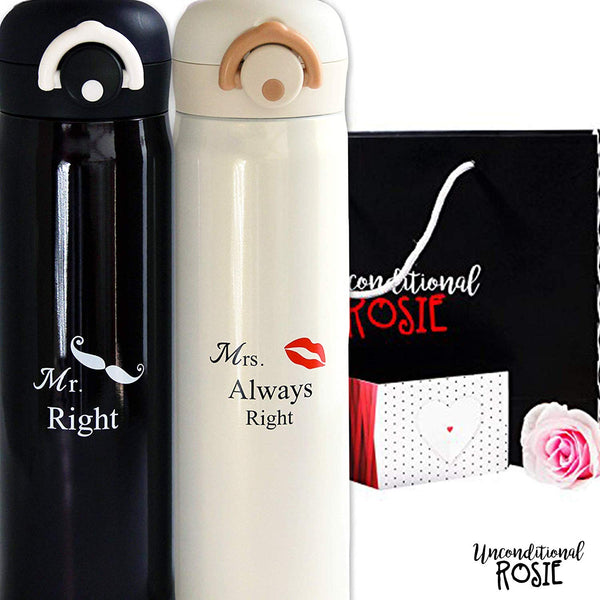 Wedding and Anniversary Gift by Unconditional Rosie - Set of 2 Matching Stainless Steel Flasks. This Thermo Set Comes in a Gift Box. Funny, Unique and Personalized Couples Gifts for Him and Her