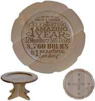 "LifeSong Milestones Personalized 1st Wedding Anniversary Maple Cake Stand Gift for Her, Happy 1 Year Anniversary for Him 10"" Custom Engraved for Husband or Wife (Design #2)"