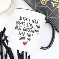 YouNique Designs 1 Year Anniversary Coffee Mug for Girlfriend, 11 ounces, White, 1st Anniversary Gift for Her