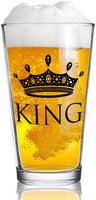 King and Queen Beer and Wine Glass Gift Set of 2 | Fun Novelty His and Hers or Husband Wife Drinkware | Couple, Newlywed, Anniversary Gift | Wedding Present or Favorite Couples Gift | USA Made