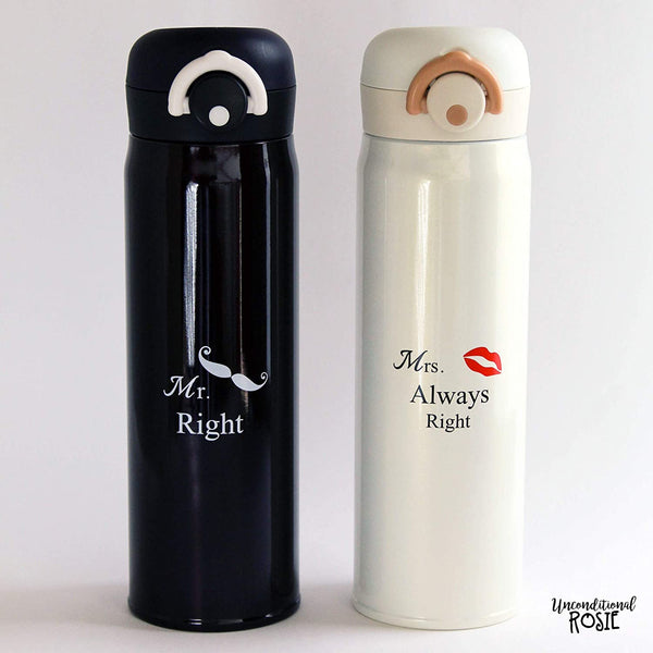 Wedding and Anniversary Gift by Unconditional Rosie - Set of 2 Matching Stainless Steel Flasks. This Thermo Set Comes in a Gift Box - Funny, Unique and Personalized Couples Gifts for Him and Her.