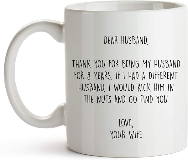 YouNique Designs 8 Year Anniversary Coffee Mug for Him, 11 Ounces, 8th Wedding Anniversary Cup for Husband, Eight Years