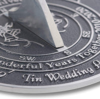 The Metal Foundry 10th Tin 2020 Wedding Anniversary Sundial Gift. Solid Recycled Metal Gift Idea is A Great Present for Him, Her, Parents, Grandparents Or Couple On 10 Years of Marriage