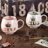 Oyiyou King and Queen Marble Coffee Mugs Set - Gifts for Newlyweds, Engagements, Anniversaries, Weddings, Parents, Couples, Christmas - Novelty Marble Coffee Mugs 14oz and Coasters
