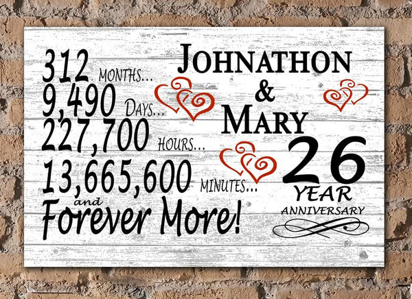 Broad Bay Personalized 26 Year Anniversary Sign Gift Twenty-Sixth Wedding Anniversary 26th for Couple Him Or Her Days Minutes Years
