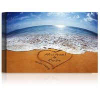 Sand Writing - Personalized Art Canvas Prints or Framed Art Gift, includes Names and the Special Date - Perfect Gift for the Wedding Anniversary.