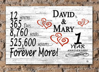 Broad Bay Personalized 1 Year Anniversary Sign Gift First Wedding Anniversary 1st for Couple Him Or Her Days Minutes Years