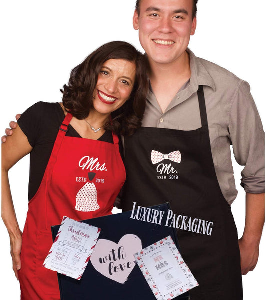 Mr Mrs Wedding Gifts for Couples - Year 2020 - Anniversary apron - His and Her - Bridal shower gifts for bride - Bride and Groom