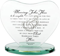 Dicksons Marriage Takes Three Heart Shaped Black Letter 7 x 7.5 Glass Table Top Sign Plaque