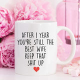 YouNique Designs 1 Year Anniversary Coffee Mug for Her, 11 Ounces, 1st Wedding Anniversary Cup For Wife, One Year, First Year, 1st Year
