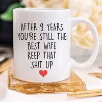 YouNique Designs 9 Year Anniversary Coffee Mug for Her, 11 Ounces, 9th Wedding Anniversary Cup For Wife, Nine Years, Ninth Year, 9th Year