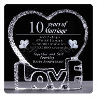 YWHL Crystal First One Year 1st Wedding Anniversary Paperweight Keepsake Gifts for Her Wife Girlfriend Him Husband