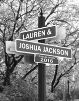 "Personalized Wedding Gift -""Lover's Lane"" Street Sign Art - The Perfect Present for the Bride and Groom or Anniversary - Customized Print Includes Names and the Special Date"