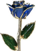 Allmygold Jewelers Sapphire Blue Lacquered 24k Gold Dipped Long Stem Genuine Rose In Gift Box