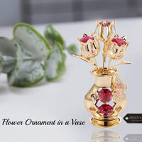 Matashi 24K Gold Plated Crystal Studded Flower Ornament in Vase with Decorative Butterfly Tabletop Ornament - Great Gift for Birthday Mother's Day Valentine's Day Anniversary, Home Office Decor