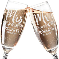 Personalized New Mr. Mrs. 50th Wedding Anniversary Decorations Celebratory Champagne Glasses Set of 2 Grandma Grandpa Bride Groom Party Favors