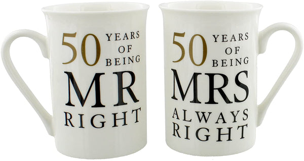 Oaktree Gifts 50 Years Anniversary 2 Mug Set Mr & Mrs