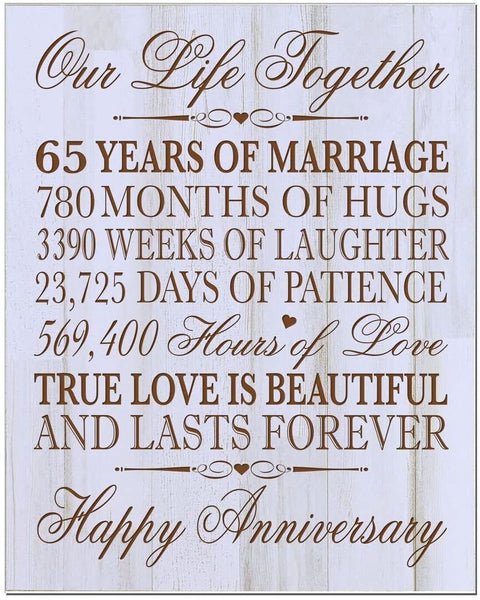 "Personalized 65th Wedding Anniversary Wall Plaque Gifts for Couple Parents, 65th for Her,him Custom Engraved 65th Wedding 12"" W X 15"" H Wall Plaque (Distressed White)"