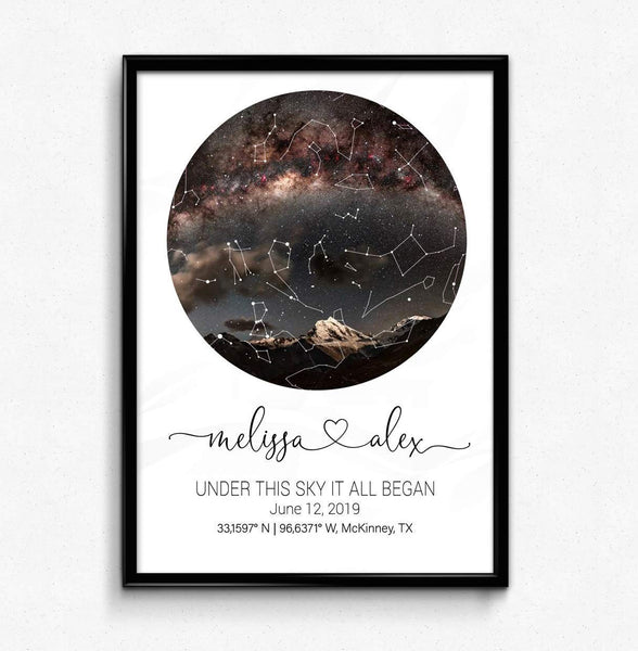 Custom Personalized Star Map by date gift Night sky print Custom constellation map poster Paper wedding anniversary gift