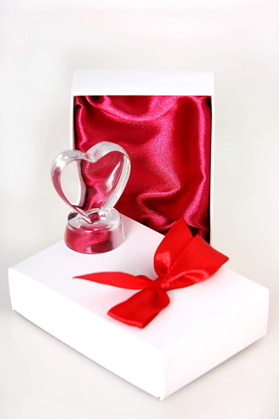 Crystal Heart Shaped - Gift Box, Custom Anniversary Christmas Birthday Baby Funny Gift for Her Him Women Men Mother Dad- for Home Office Desk Decor