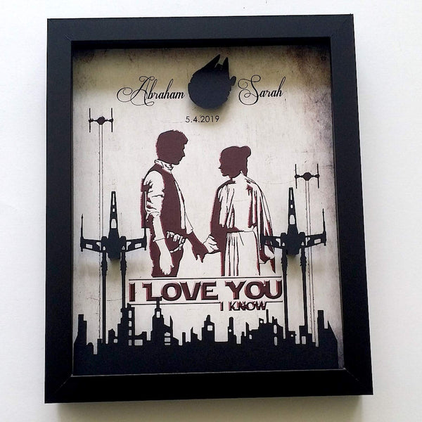 3D Shadowbox - 8X10 Star Wars Inspired Wedding Or Anniversary Gift For Couples | I Love You I Know Gift For Couples, Floating X Wing Skyline And Millennium Falcon