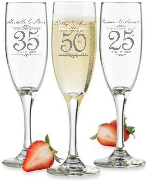 Customized Anniversary Champagne Flutes or Wine Glasses - Set of 2 - Couples Name and Wedding Date – Personalized for Anniversary Celebration - Custom Engraved Anniversary Gift (Champagne)
