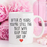 YouNique Designs 15 Year Anniversary Coffee Mug for Her, 11 Ounces, 15th Wedding Anniversary Cup For Wife, Fifteen Years, 15th Year