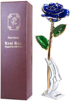 Gold Dipped Rose, Sinvitron Long Stem 24k Gold Dipped Real Rose Lasted Forever with Stand, Best Anniversary Gifts for Her