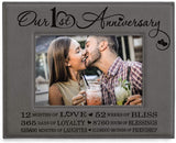 Kate Posh - Our First (1st) Anniversary Engraved Leather Picture Frame - Gifts for Couple, Gifts for Him, Gift for Her, Paper, First Wedding Anniversary Photo Gifts (5x7-Vertical)