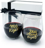 Gifffted Mr right Mrs Always Right Wine Glasses, Wedding Gift, Couple Gifts For Anniversary, Engagement, His and Her, Bride Groom, Christmas Gift For Couples, Bridal Shower Gift, Valentines, 18OZ
