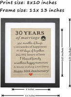 "Framed 30th Anniversary Pearl Burlap Gift 11"" W X 13"" H, 30th Wedding Anniversary, 30th Anniversary, Couples 30th Anniversary for Men, Gifts for Her, Him, Husband"
