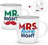 Gifffted Mr Right and Mrs Always Right Coffee Mugs and Luggage Tags, Couples Gifts Set For Anniversary or Engagement, Funny Wedding Gift For Newlywed Couple, Bride,Groom, Friends, Women,Her, Christmas