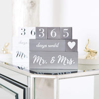Wedding Countdown Calendar Block Engagement Gifts for Couples and His and Hers, Bride to Be | Includes Reversible Text Block for Marriage, Anniversary Celebration - Recently Engaged Gift Fiance Gifts