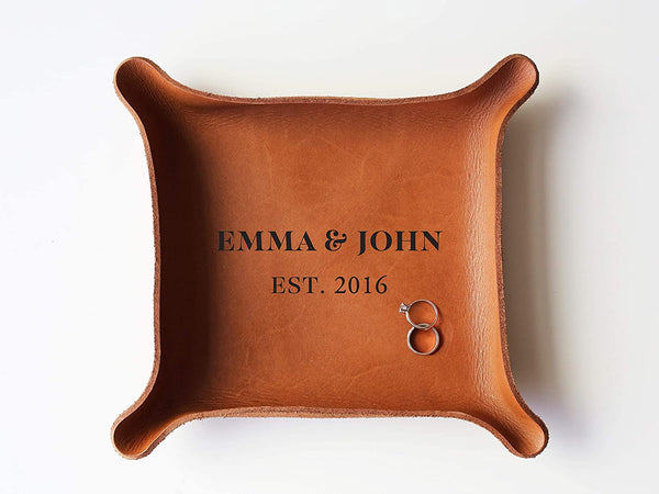 "3rd Personalized Leather Tray with Initials & Wedding Year (Large Tray (7""x8""), Brown)"