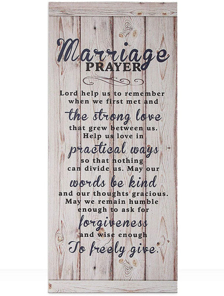 "Lynicon 7""x16"" Marriage Prayer Plaque Rustic Wood Sign, Lord Help Us to Remember When We First Met, Unique Wedding Gifts"