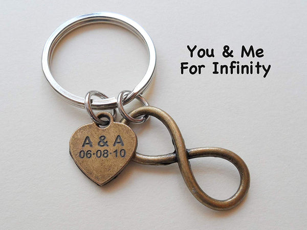 Custom Bronze Infinity Keychain with Engraved Tag for Couples Initials and Date, Anniversary Gift Keychain
