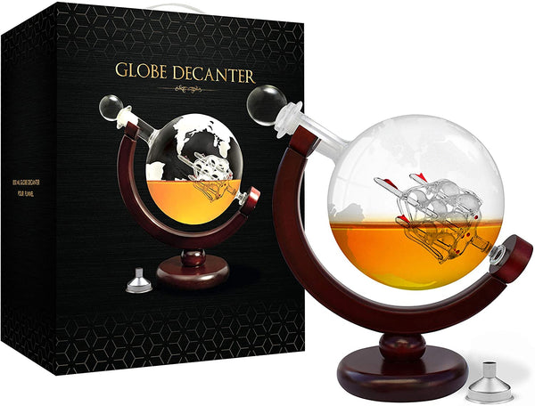 Whiskey Decanter Set World Etched Globe Decanter Antique Ship Glass Stopper Pour Funnel Liquor Dispenser Spirits Scotch Bourbon Vodka Rum Brandy Perfect Gift (Decanter 850 ml with metal funnel)