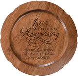 "LifeSong Milestones Rustic Cherry Wood 1st Wedding Anniversary Plate Gift for Her, Happy 1 Year Anniversary for Him, 12"" D Engraved for Husband or Wife USA Made (Our Love Story)"